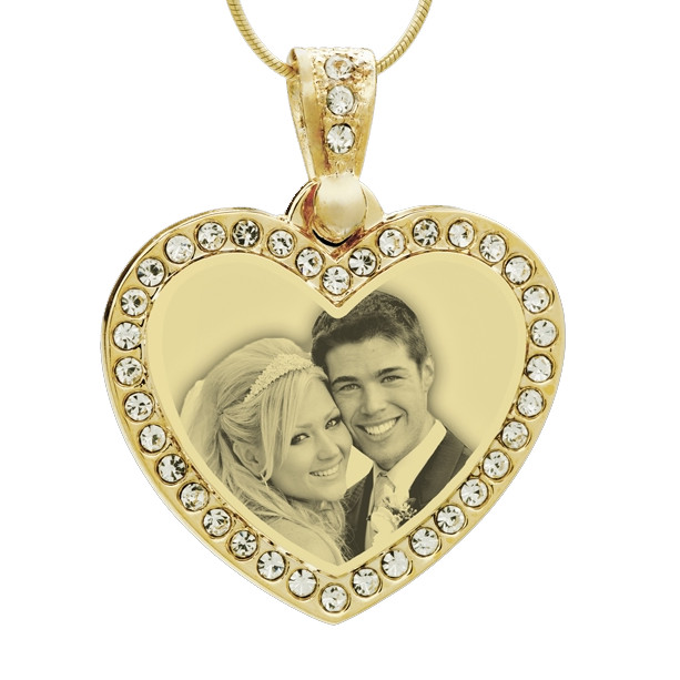 Photo engraved heart pendant with gemstones womens gold mozeypictures Gallery