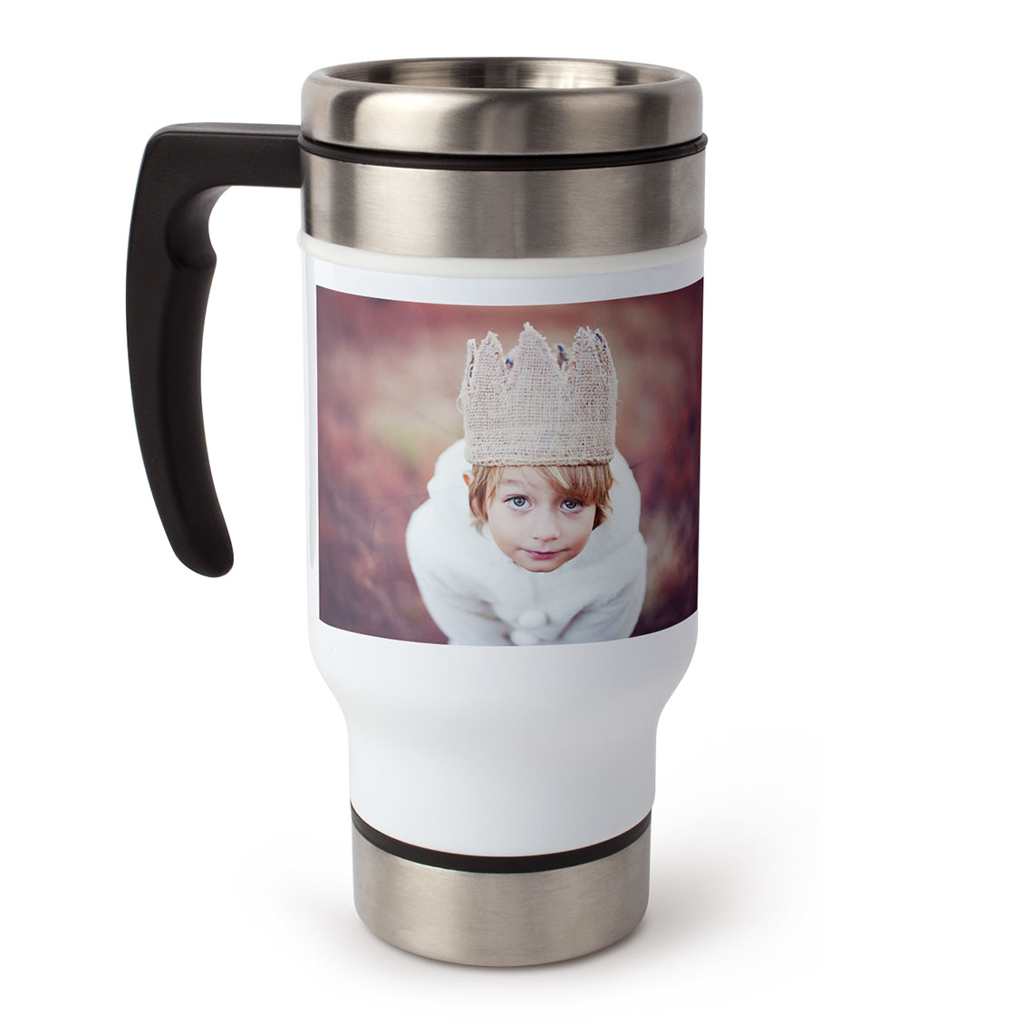 photo travel coffee mug with handle 13 oz